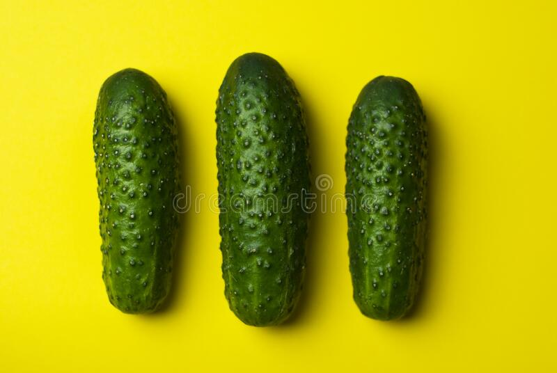 Green Cucumbers On Yellow Free Public Domain Cc0 Image
