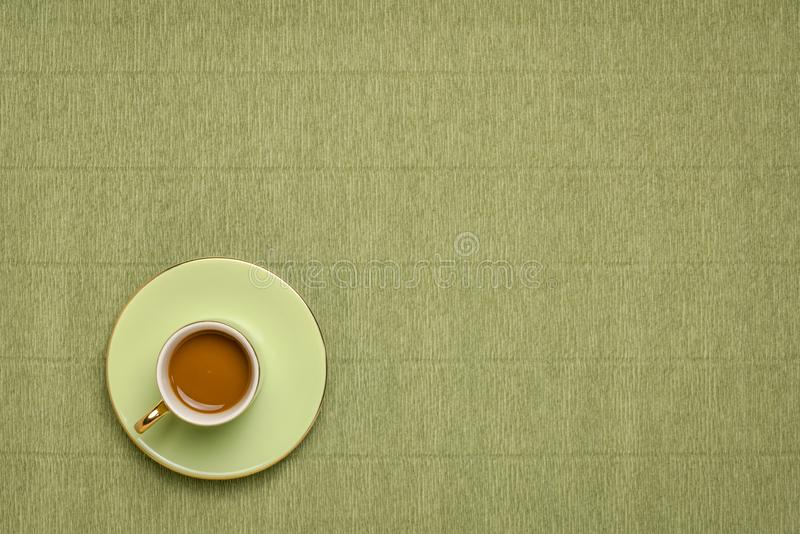 Green cup of coffee with copy space stock photo