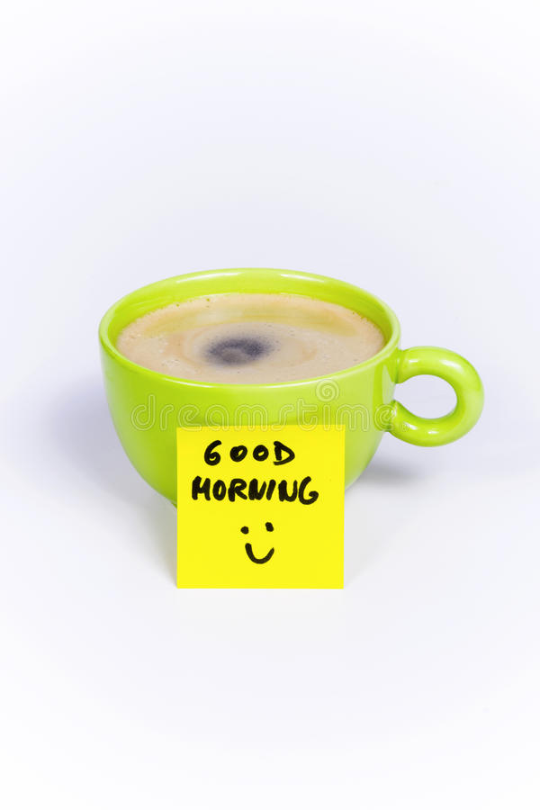 Green cup of coffee, organic coffee, post-it note good morning royalty free stock photo
