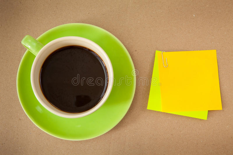 Download Green cup and note paper stock image. Image of coffee - 23842925