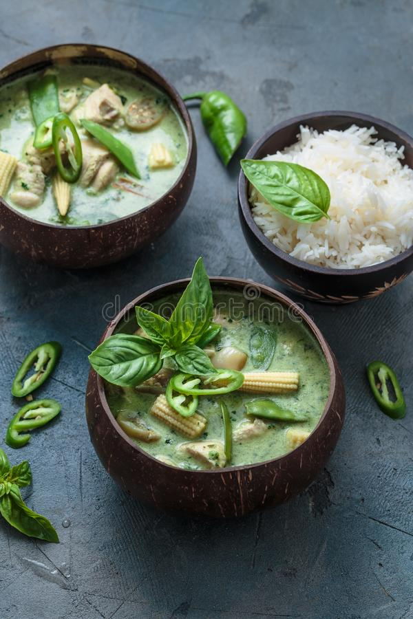 Green curry with chicken in a bowl, thai cuisine.  stock photography