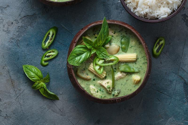 Green curry with chicken or Kang keaw wan gai, thai cuisine.  stock photos
