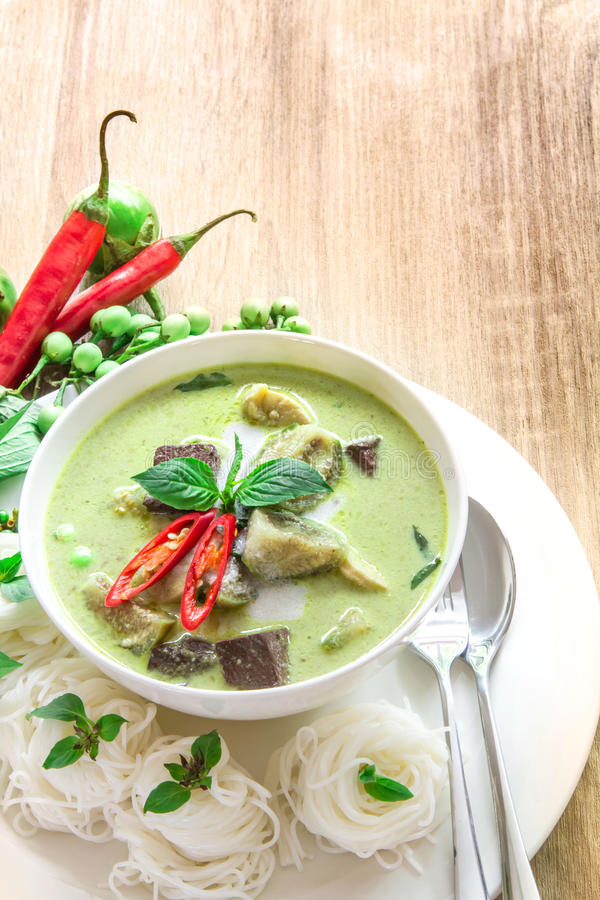 Green curry creamy coconut milk with chicken , Popular Thai food royalty free stock photo