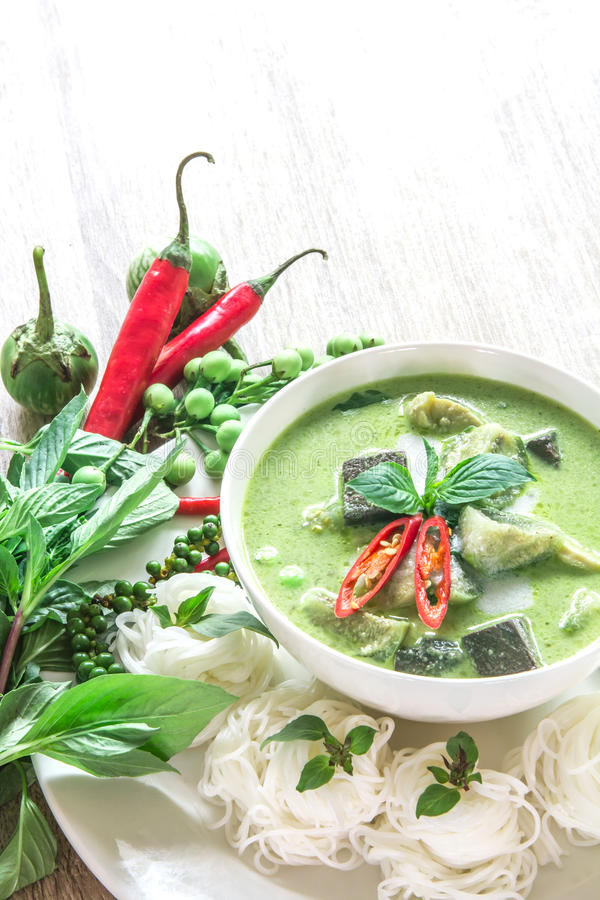 Green curry creamy coconut milk with chicken , Popular Thai food royalty free stock images