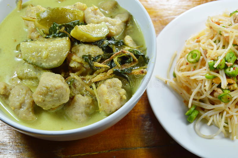 Green curry fish ball with eggplant eat couple with rice vermicelli spicy salad stock photos