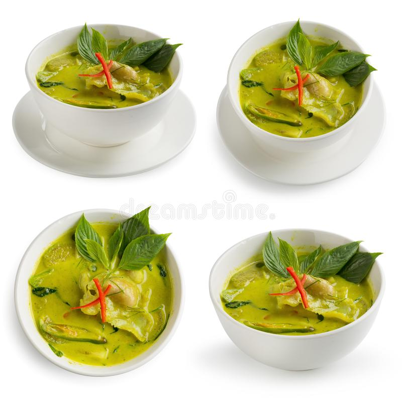 Green curry Shrimp dumplings in coconut milk isolated on white background. Green curry Shrimp dumplings in coconut milk royalty free stock image