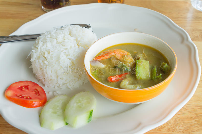 Green curry with Shrimp. Thai food royalty free stock photos
