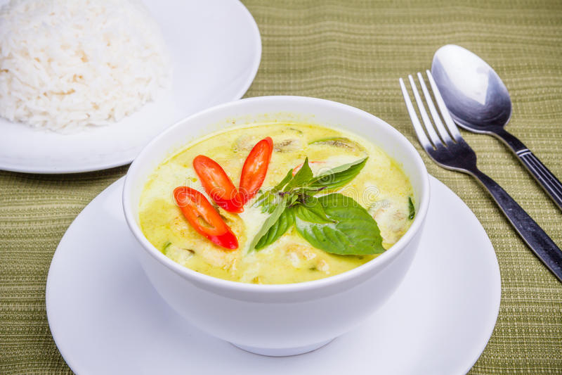 Green Curry. And steam rice stock photo