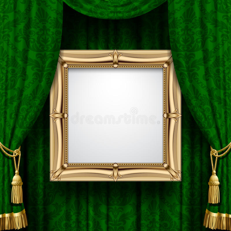 Green curtain with a gold frame vector illustration
