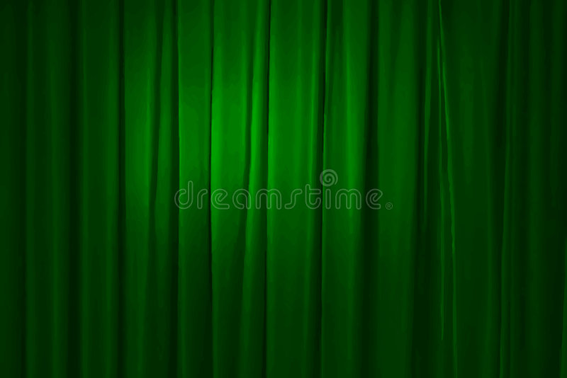 Green curtain, vector royalty free stock images