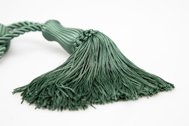 Green curtains tassel stock image