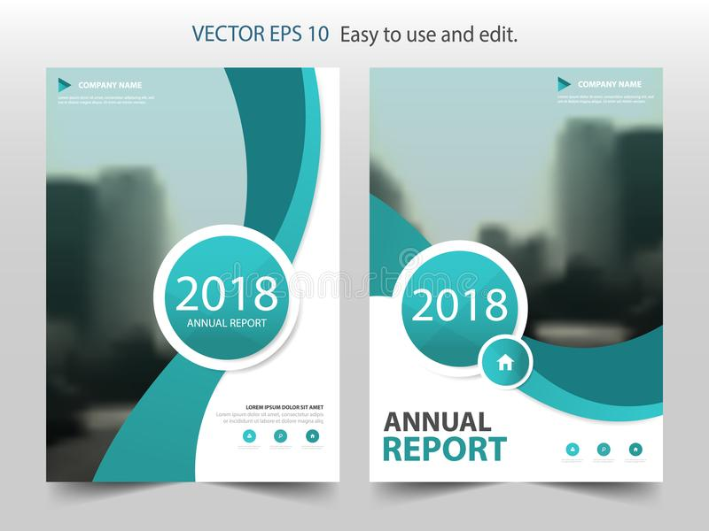 Green curve circle annual report Brochure design template vector. Business Flyers infographic magazine poster. stock illustration