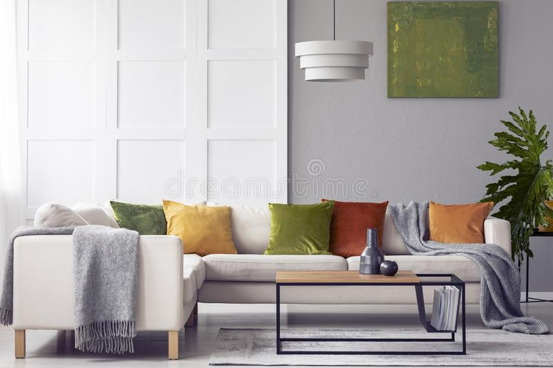 Green cushions and grey blanket on corner sofa in living room interior with lamp above table. Real photo. Green cushions and grey blanket on corner sofa in royalty free stock images