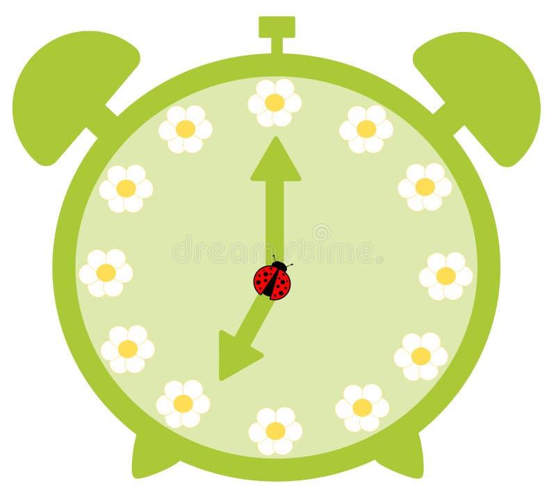 Green cute alarm clock with daisy flower stock illustration