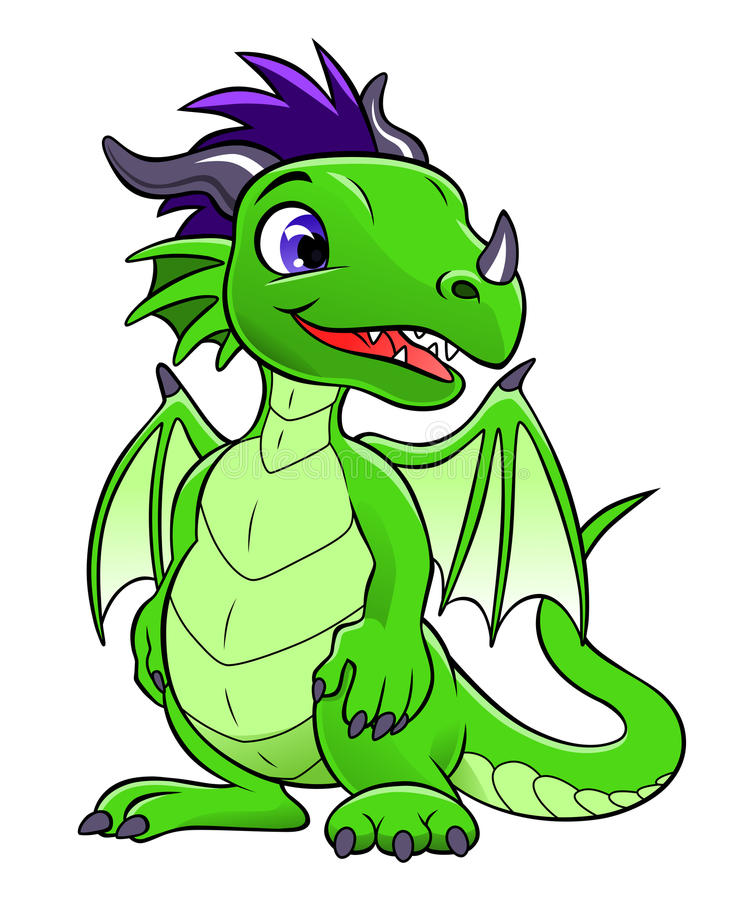 Green cute dragon royalty free illustration