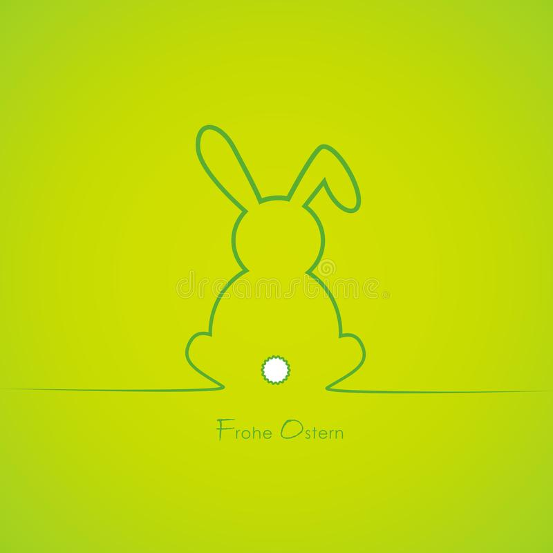Green cute easter bunny border with german text happy easter stock illustration