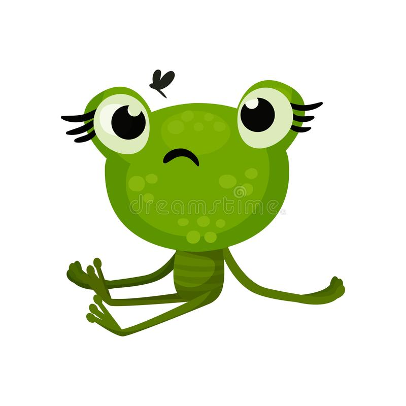 Green cute frog sitting with sad face expression, insect flying over head. Flat vector element for children book. vector illustration