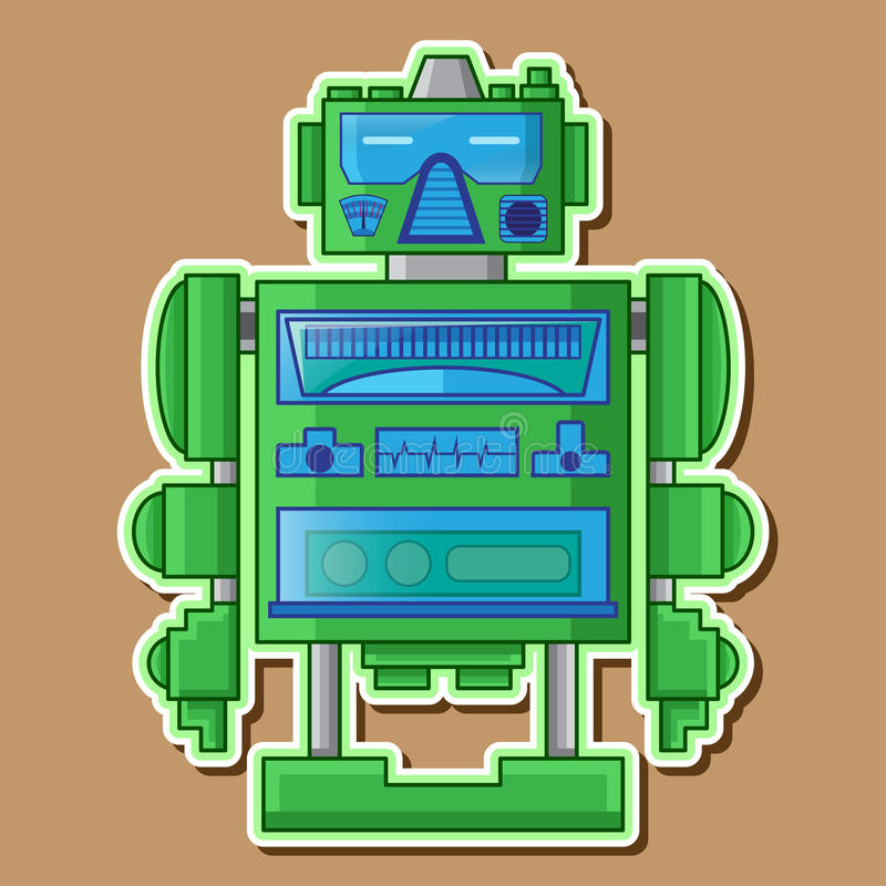Green Cute Robot Vector Design royalty free stock photos