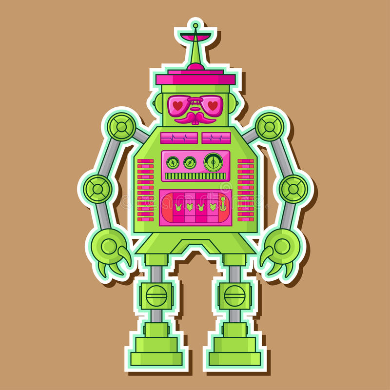 Green Cute Robot Vector Design stock photo
