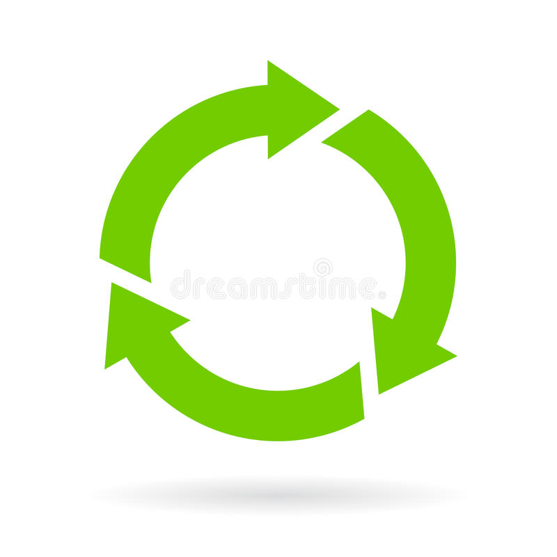 Green cycle vector icon. Isolated on white background vector illustration