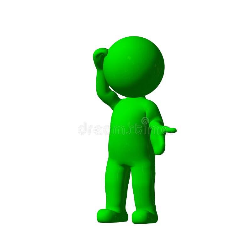 Green 3D People - Explain - on white background. Green 3D People - Explain - isolated on a white background stock illustration