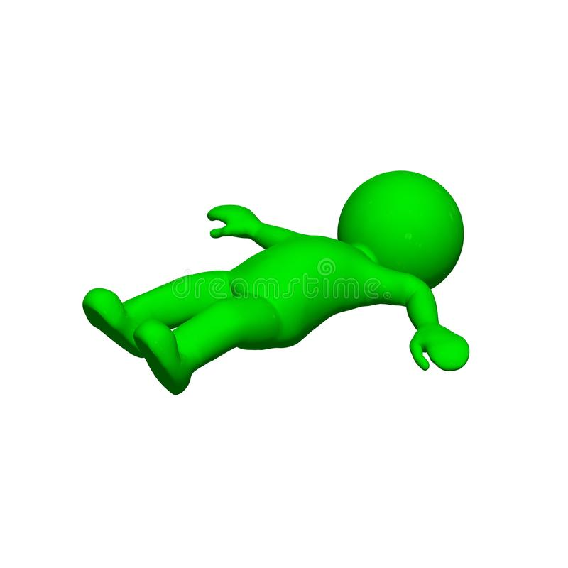 Green 3D People - Fall down - on white background. Green 3D People - Fall down - isolated on a white background stock illustration