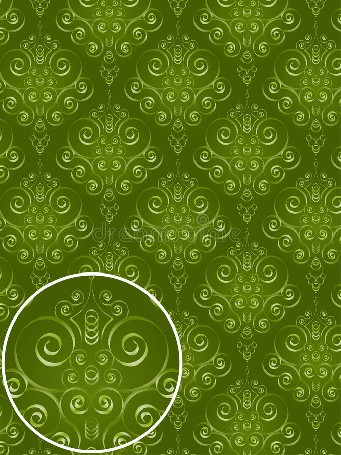 Download Green Damask Style Pattern Stock Image - Image: 2401501
