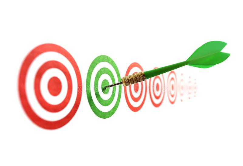 Green dart in target. Concept for accuracy, accomplishment and business success royalty free stock image