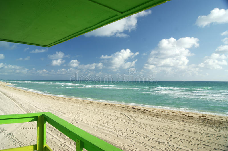 Green deck off Miami Beach royalty free stock images