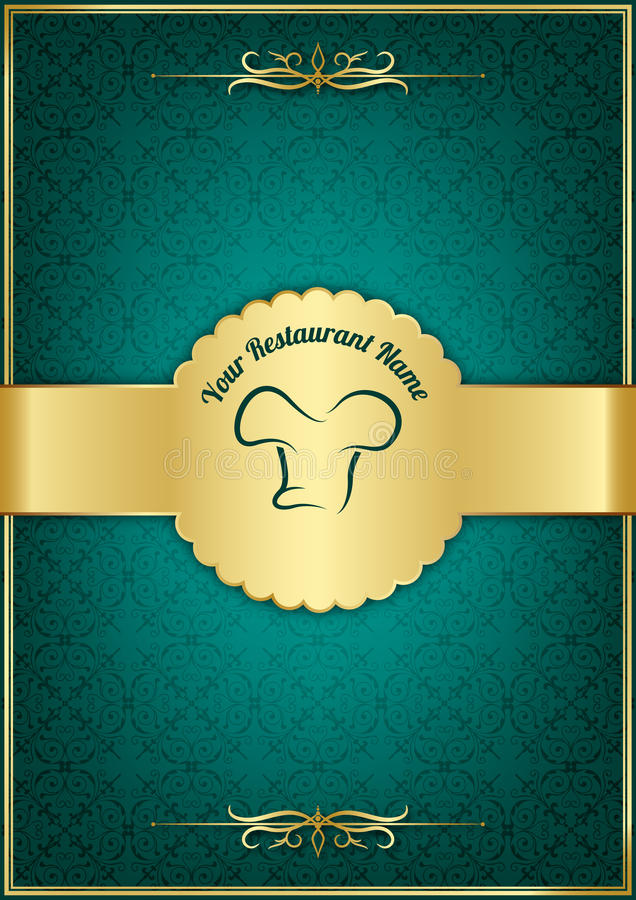 Green decorative restaurant menu cover vector illustration