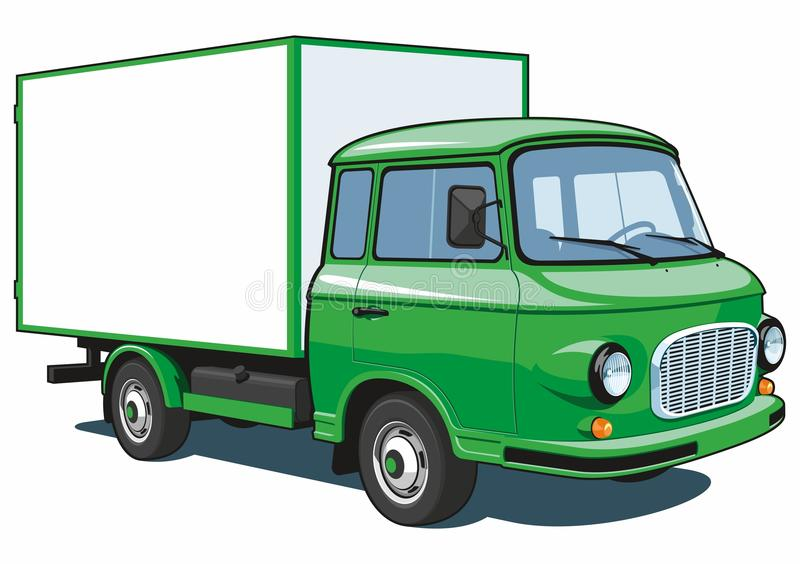 Green delivery truck royalty free stock image
