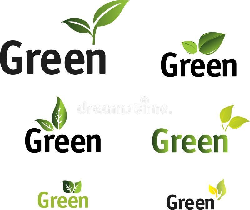 green den set vektorn för leafen royaltyfri illustrationer
