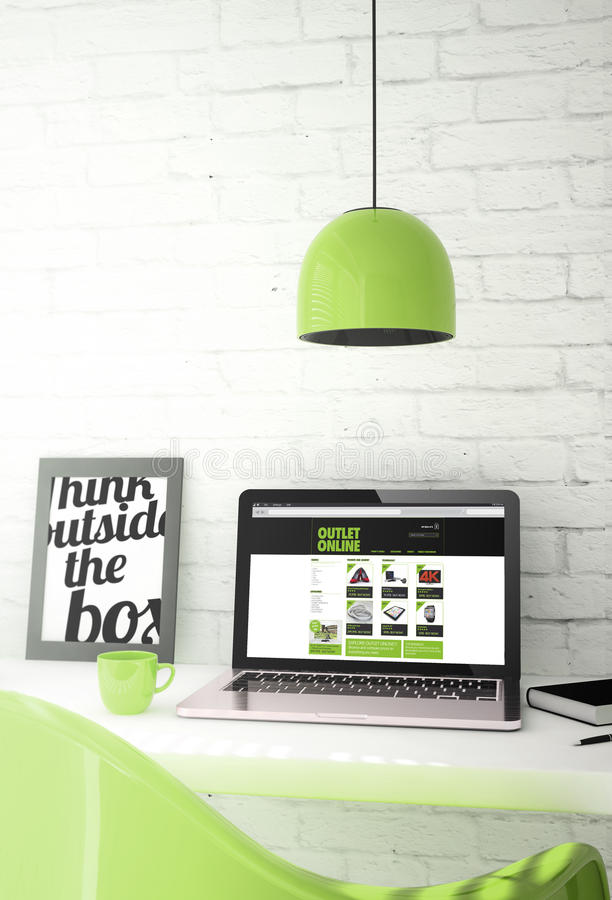 Green desktop with laptop showing online outlet vector illustration