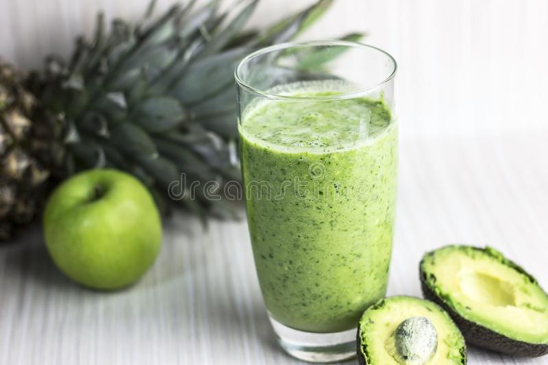 Green detox smoothie stock images