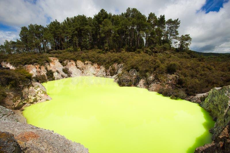 Green Devil`s Bath Pool at Wai-O-Tapu Geothermal Area near Rotorua, New Zealand royalty free stock photography