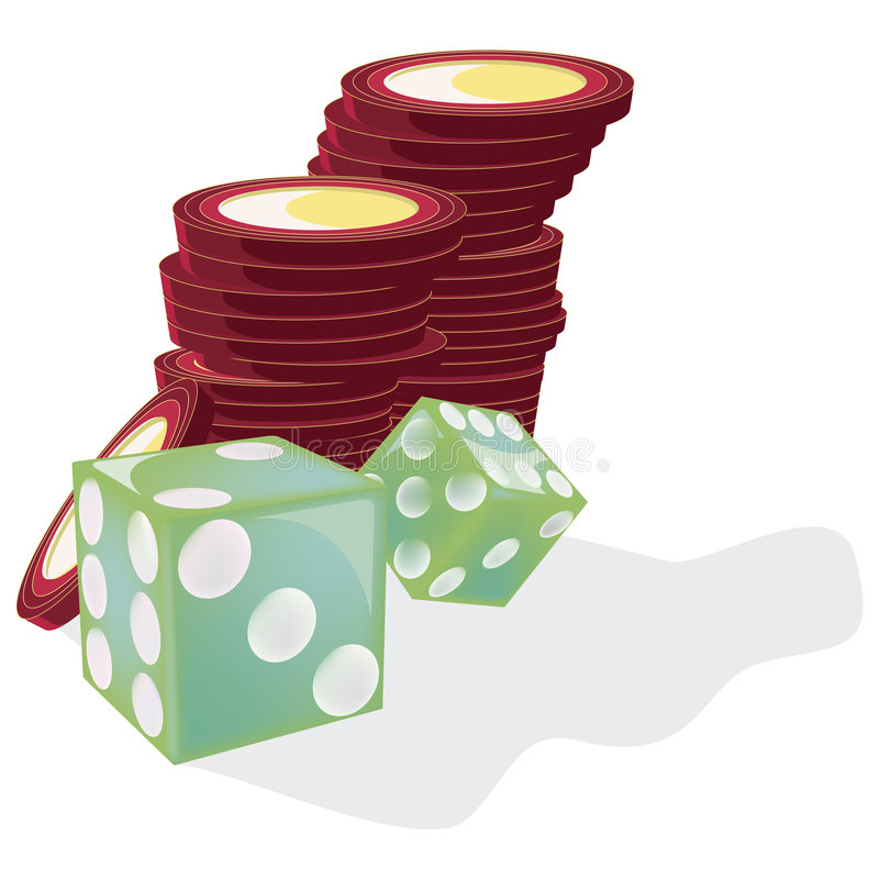Green Dice and chips with clipping path. Illustration with clipping path royalty free illustration