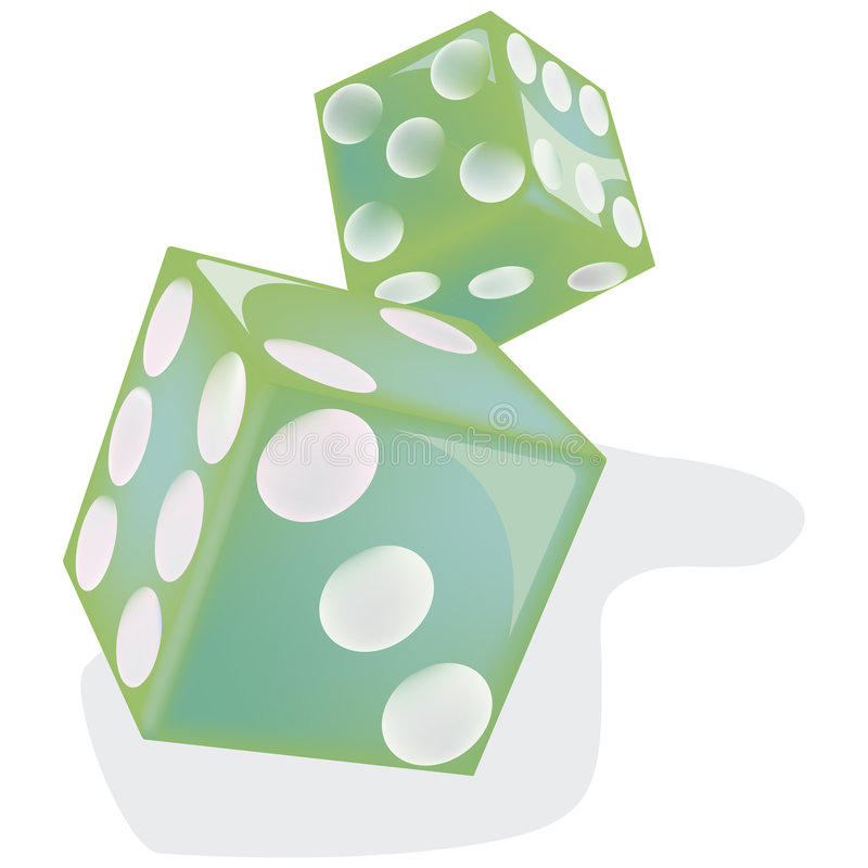 Green Dice with clipping path. Illustration with clipping path vector illustration