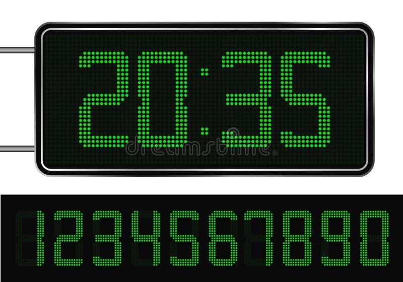 Green Digital Clock vector illustration