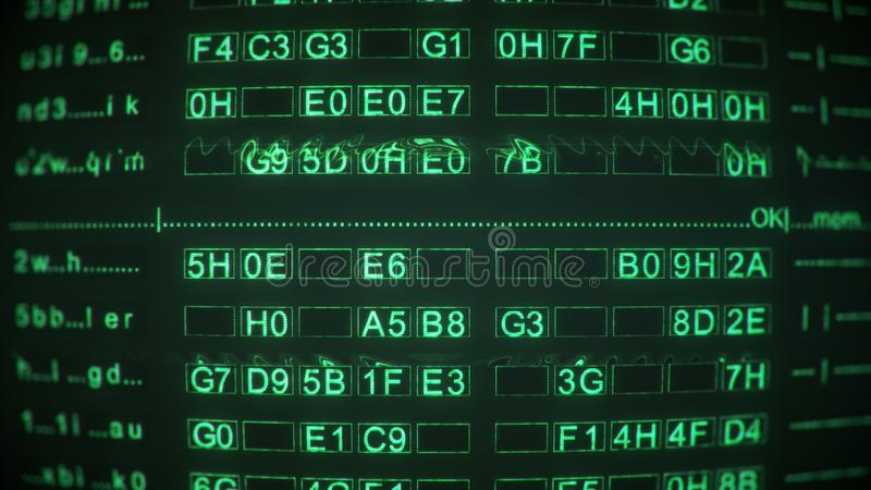 Green digital code on screen of vintage CRT monitor. Abstract information technology concept. Computer generated image vector illustration