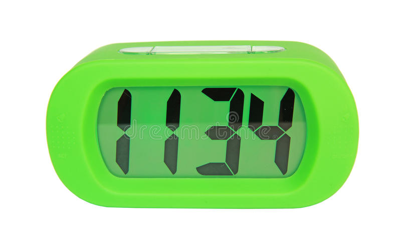 Green digital electronic clock stock photo