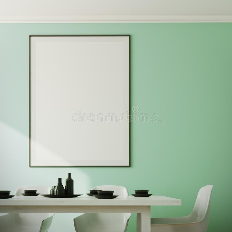 Green dining room interior, poster close up. Close up of a green dining room interior with a white wooden table and chairs and a framed poster on the wall. 3d royalty free illustration