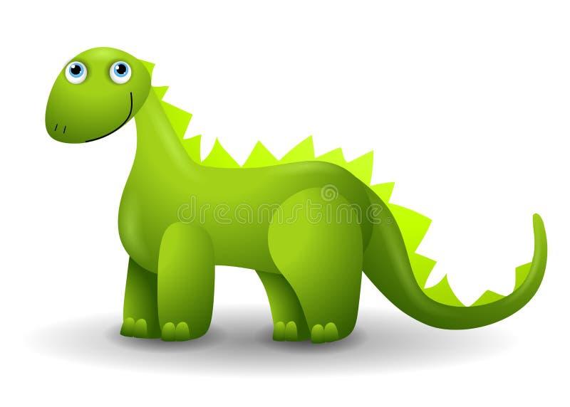 Green Dinosaur Clip Art. A clip art illustration featuring a green dinosaur standing and smiling vector illustration