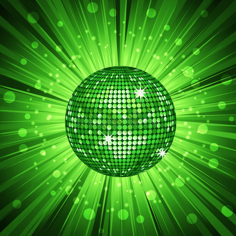 Green Disco Ball And Light Burst Stock Photography Image