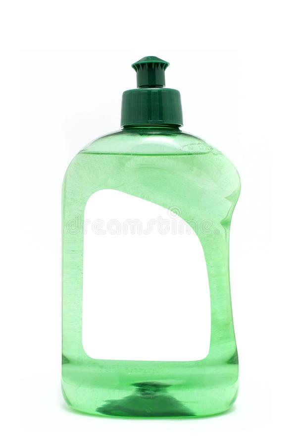 A green dish soap bottle with blank label isolated on white background royalty free stock photography