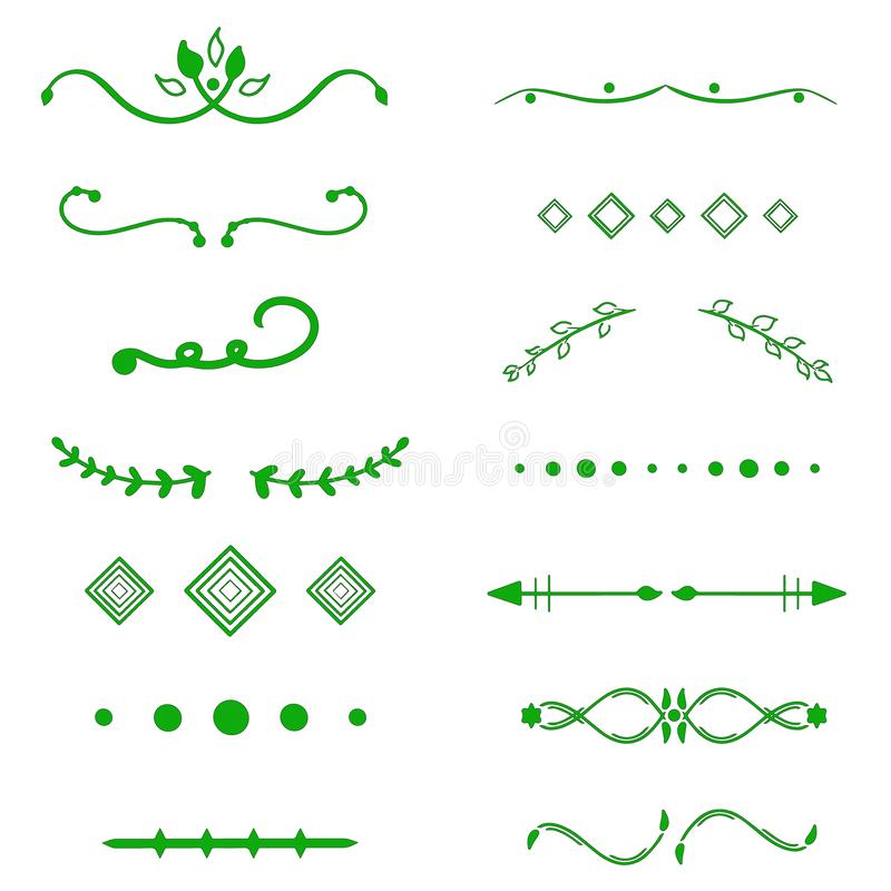 Green Dividers vector on white background. Handdrawn borders. Unique swirl, divider. Ink, brush lines, laurels set. Calligraphic doodle design page decor. Text royalty free illustration