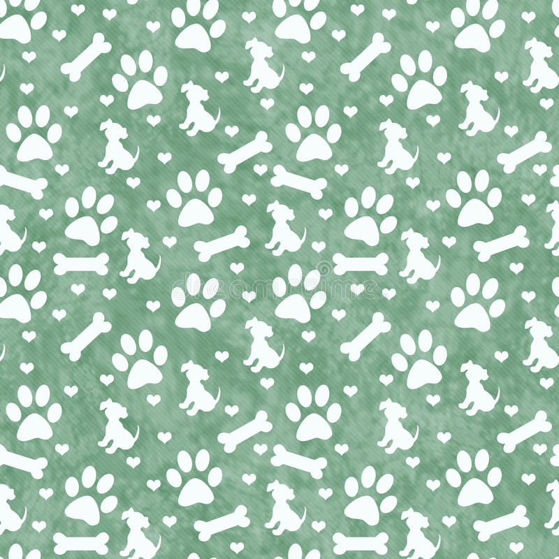 Green Doggy Tile Pattern Repeat Background vector illustration