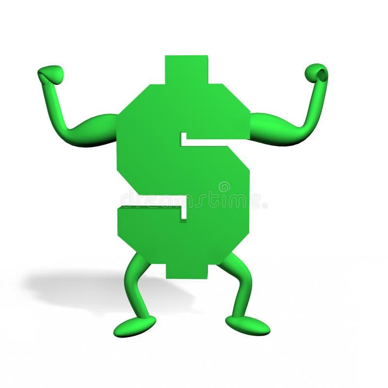 Green dollar. Sign flexing him muscles dominating vector illustration