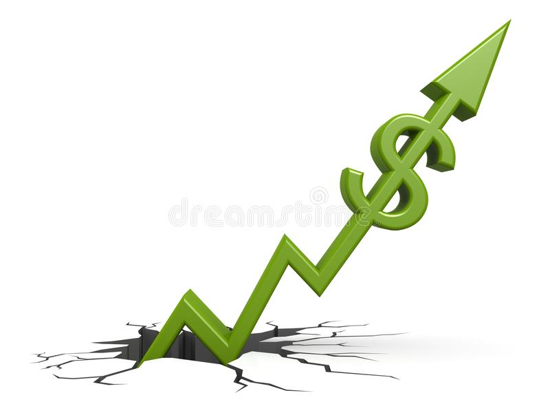 Download Green dollar out of ground stock illustration. Illustration of graph - 34294892