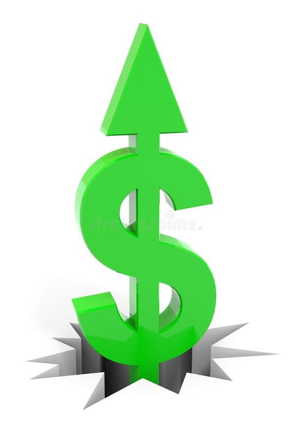 Green dollar sign with arrow up breaking floor. vector illustration
