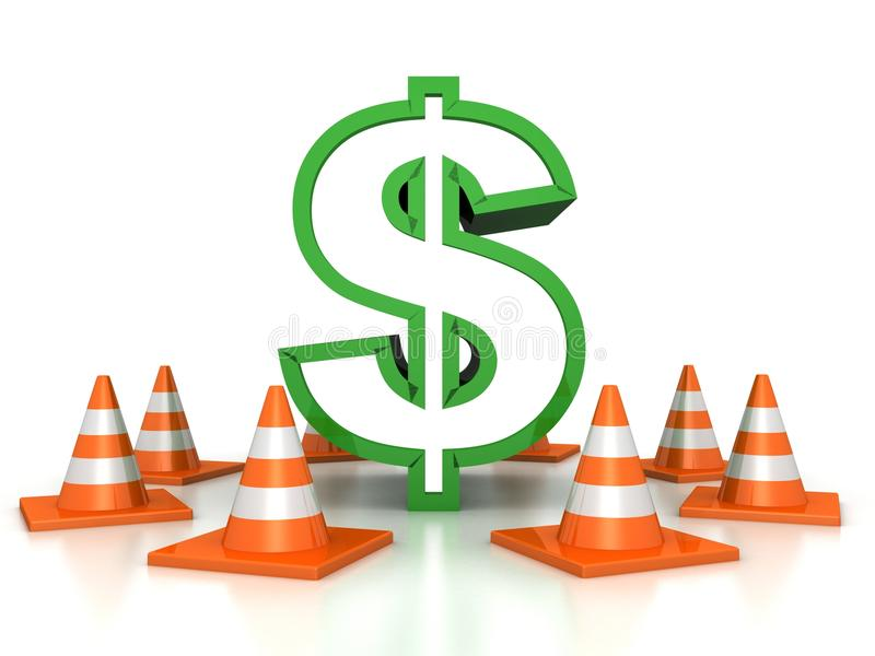 Green dollar sign protected by road traffic cones stock illustration